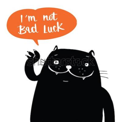 Poster Stile di doodle di vettore dell'illustrazione un gatto nero e non sono sfortuna nel discorso del pallone, progettazione del fumetto.