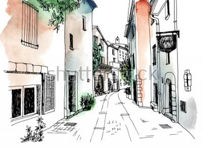 Poster Stile di schizzo disegnato di strada di città vecchia in mano. Illustrazione vettoriale Piccola città europea. Francia. Paesaggio urbano su priorità bassa variopinta dell'acquerello
