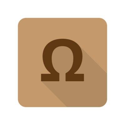 Poster stile piatto icona Omega web app su sfondo marrone chiaro