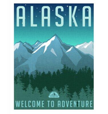 Poster Stile retrò serie di poster di viaggio. Stati Uniti, Alaska paesaggio di montagna.