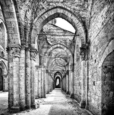 Poster Storico rovine di un'abbazia abbandonata in bianco e nero