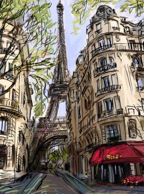 Poster Strada a Parigi - illustrazione