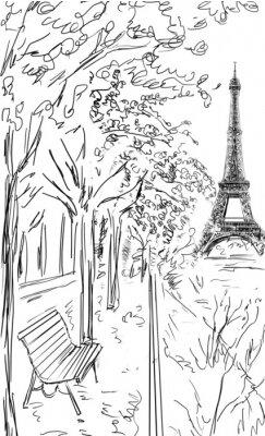 Poster Strada in autunno di Parigi.