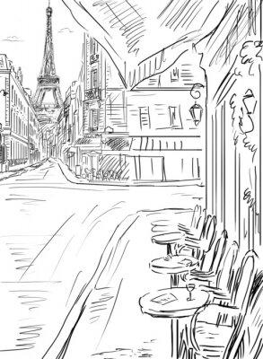 Poster Strada in illustrazione paris-sketch
