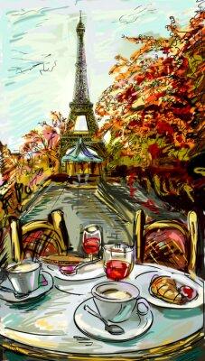Poster Strada in paris - illustrazione