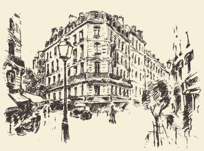 Poster Strade Parigi Francia vintage illustrazione disegnata