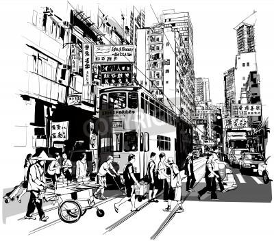 Poster Street a Hong Kong - Illustrazione vettoriale (tutti i caratteri cinesi sono fittizi)
