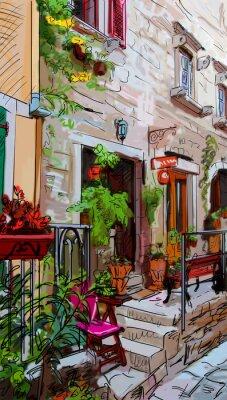Poster Street a Roma - illustrazione