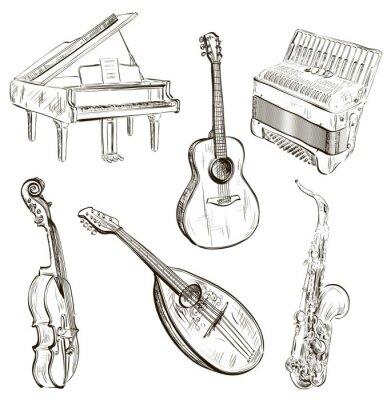Poster strumenti musicali a sketch-style
