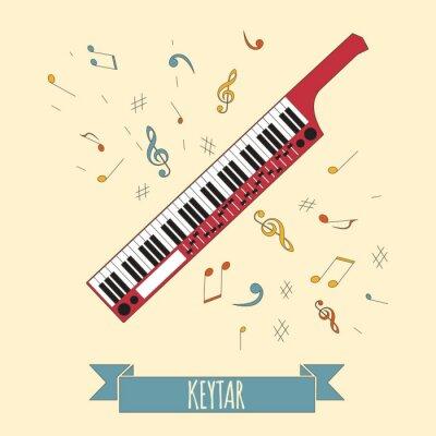 Poster Strumenti musicali template grafico. Keytar.