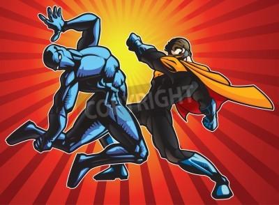 Poster Super eroe e una battaglia ninja facendo.