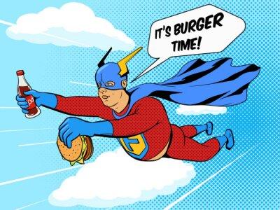 Poster Superhero uomo grasso e hamburger fumetti vettore