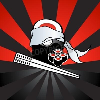 Poster Sushi ninja with dangerous katana-chopsticks and spicy rolls