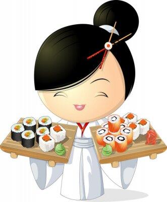 Poster sushi ragazza