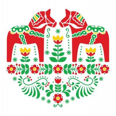 Poster Svedese Dala cavallo o Daleclarian folk pattern floreale