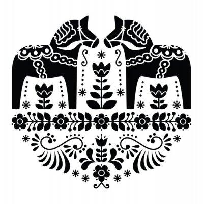 Poster Svedese Dala o Daleclarian cavallo modello folk in nero