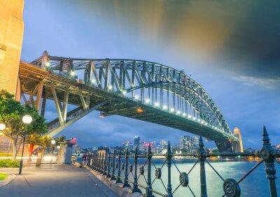 Poster Sydney, Nuovo Galles meridionale. Incredibile vista del tramonto di Harbour Bridge