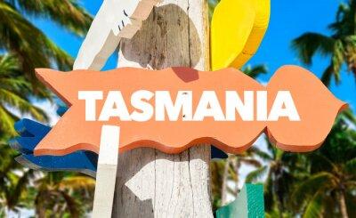 Poster Tasmania segno di benvenuto con palme
