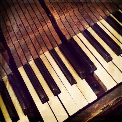 Poster Tasti di un pianoforte antico rotto