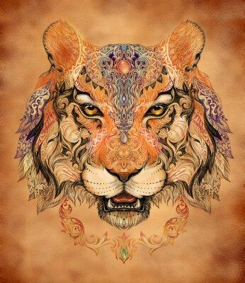 Poster Tatuaggio, capo grafico di una tigre