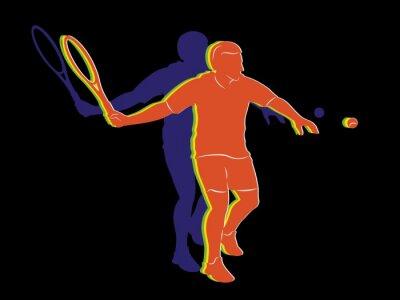Poster tennista sagoma, disegno vettoriale