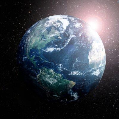 Poster Terra nello spazio mostra Europa, Asia e Africa