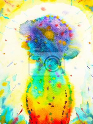 Poster testa umana, potere chakra, ispirazione pensiero astratto, mondo, universo nella tua mente, pittura ad acquerello