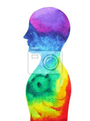 Poster Testa umana, potere del chakra, ispirazione astratto, mondo, universo nella tua mente, pittura ad acquerello