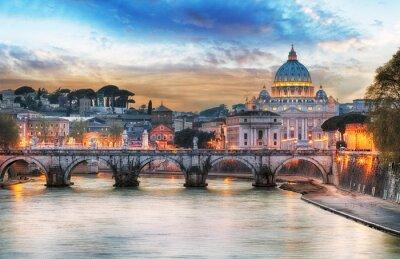 Poster Tevere e la Basilica di San Pietro in Vaticano con arcobaleno, Roma