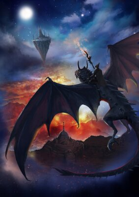 Poster The dragon warrior are sitting on the dragon flying to the floating island with sky and burning background.  2D artwork.