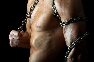 Poster Tirante bello e muscoloso con catena