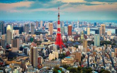 Poster Tokio vista città visibile all'orizzonte