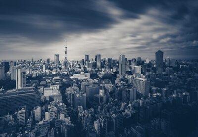 Poster Tokio vista della città e Torre di Tokyo in tono scuro