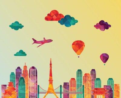 Poster Tokyo orizzonte. illustrazione di vettore