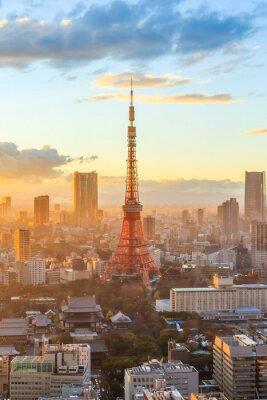 Poster Tokyo skyline della città al tramonto a Tokyo