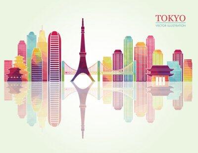 Poster Tokyo skyline dettagliate. illustrazione vettoriale