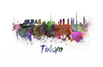 Poster Tokyo skyline in acquerello
