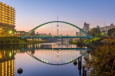 Poster tokyo skytree and colorful bridge in refection