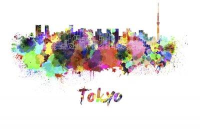 Poster Tokyo V2 orizzonte in acquerello