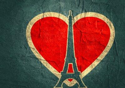 Poster Torre Eiffel a Parigi. silhouette contorno. Gradiente di sfondo radiante