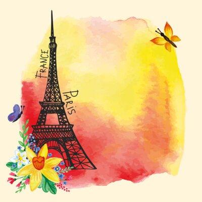Poster Torre Eiffel, macchia acquerello, carta Narcissus bouquet.Paris
