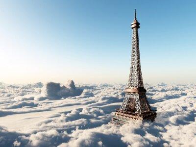 Poster Torre Eiffel sopra le nuvole