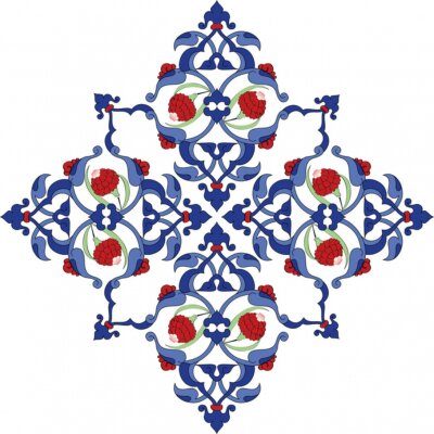 Poster Tradizionale antico turco dell'ottomano disegno delle mattonelle illustrazione