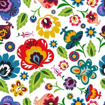 Poster Tradizionale popolare polacca motivo floreale vettoriale