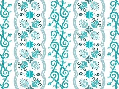 Poster Tradizionali decorati piastrelle portoghesi e brasiliani azulejos in colori turchese. Vintage pattern. Abstract background. Illustrazione vettoriale, eps10.