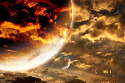 Poster Tramonto in cielo tempesta e pianeta alieno