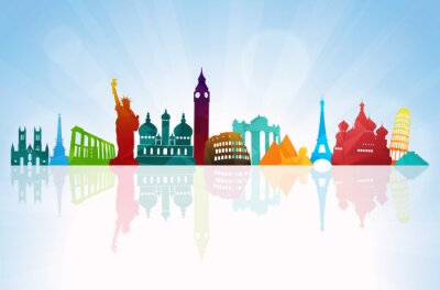 Poster Travel background skyline