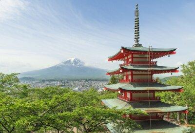 Poster Travel destination - Mt. Fuji con pagoda rosso in primavera, Fujiyos