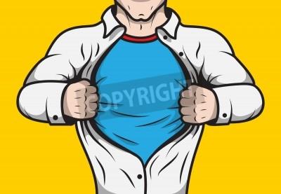Poster Travestito comicbook uomo eroe adulto sotto copertura che apre la sua camicia modello