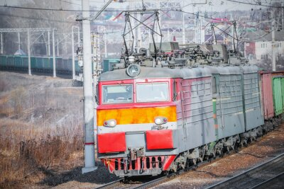 Poster Treno lungo merci.